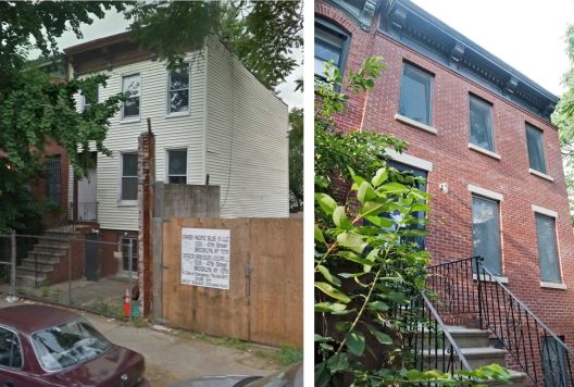 Brownstone exterior - before and after