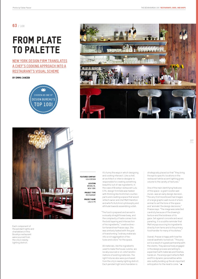 Kava Design_picked in Top 100 by Design Bureau Magazine